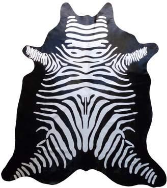 Chesterfield Reverse Zebra Stenciled Cowhide Rug