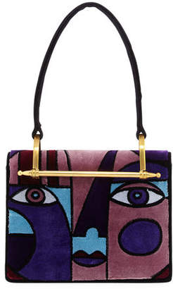 Prada Cubist Velvet Top Handle Bag