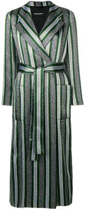 Emporio Armani striped belted trench coat