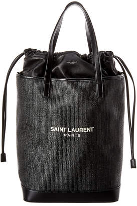 Saint Laurent Teddy Raffia Leather Shopping Tote