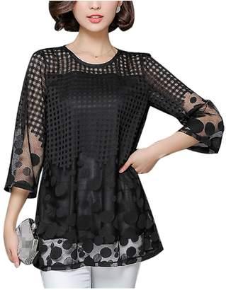 342f21f26a761 Zojuyozio Womens Summer Casual Hollow Out Polka Dot Chiffon T Shirt Top Tee  Plus Size XXL