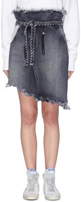 Tortoise Denim 'Mary' paperbag asymmetric belted denim skirt