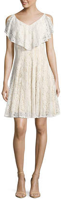 Danny & Nicole Sleeveless Lace Fit & Flare Dress-Petite