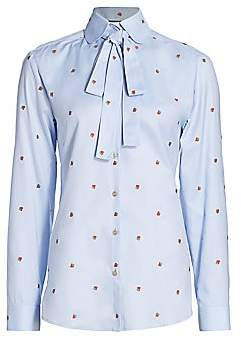 Gucci Women's Strawberry Oxford Blouse with Removable Neck Tie
