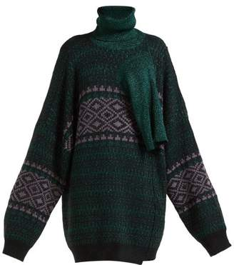 Raf Simons Draped Panel Fairisle Lame Sweater - Womens - Green Multi