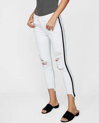 Express Petite Mid Rise Side Stripe Distressed Stretch Cropped Jean Leggings
