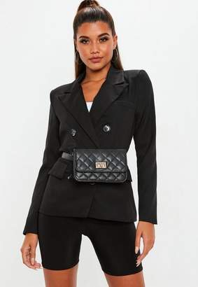 c892ae8059cdf4 Free Shipping at Missguided · Missguided Black Crepe Double Breasted Blazer