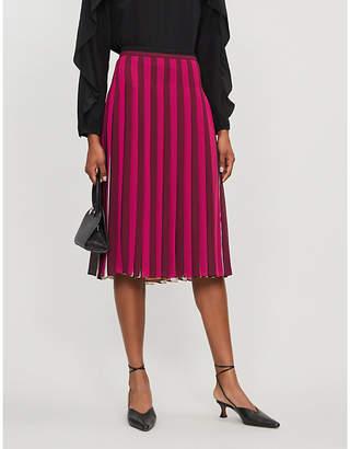 MICHAEL Michael Kors Pleated multi-stripe crepe midi skirt