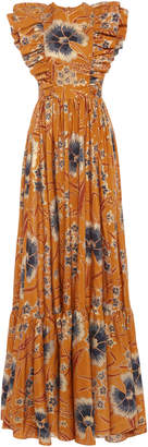 Ulla Johnson Antoinette Floral-Print Silk Maxi Dress Size: 12