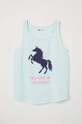 H&M Printed Jersey Tank Top - Turquoise