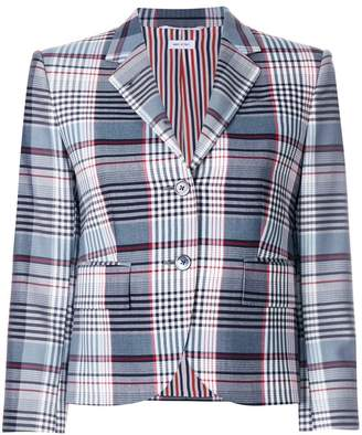 Thom Browne Classic Single Breasted Sport Coat In Large Madras Check Wool Suiting