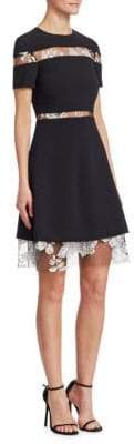 Pamella Roland Women's Embroidered Lace A-Line Dress - Black White - Size 10