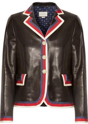Gucci Grosgrain-trimmed Appliquéd Leather Blazer - Black