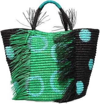 Maxi Frayed Polka Dot Straw Tote Bag