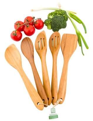 """Restaurantware Natural Bamboo Kitchen Utensil Set - 5-Piece - 12"""" x 4"""" - 1 count box"""