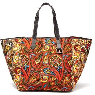 Jw Anderson - Belt Strap Paisley Print Leather Trimmed Tote - Womens - Orange Multi