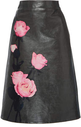 Prada Floral-Print Leather Skirt Size: 52