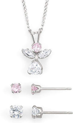 JCPenney FINE JEWELRY Girls Pink & White Cubic Zirconia Angel Jewelry Set