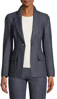 Giorgio Armani One-Button Notched Lapel Denim Blazer