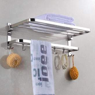 Goodg Wall Mounted Practical Stainless Steel Towel Rack Towel Bar Holder Storage Shelf 316 Bathroom Kitchen Accessory