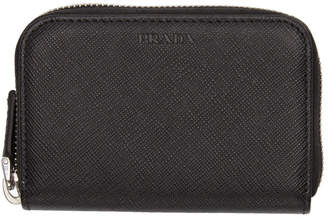 Prada Black Saffiano Zip Wallet