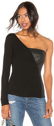 BCBGMAXAZRIA On Shoulder Leather Top