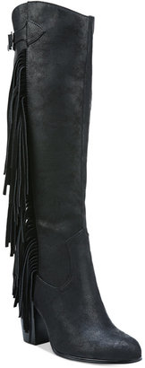 Carlos by Carlos Santana Roslyn Fringe Block-Heel Tall Boots $99 thestylecure.com