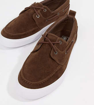 Asos Design Wide Fit Vegan Friendly Boat Shoes In Brown Faux Suede
