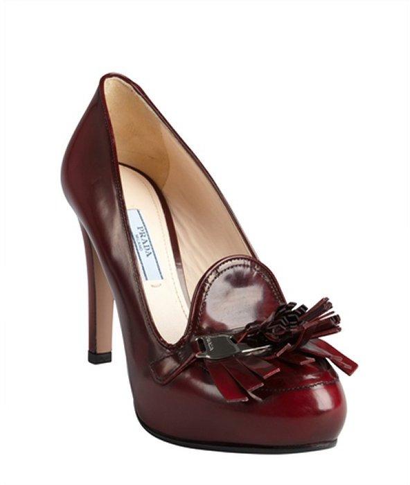 Prada burgundy leather fringe tassel platform loafer pumps