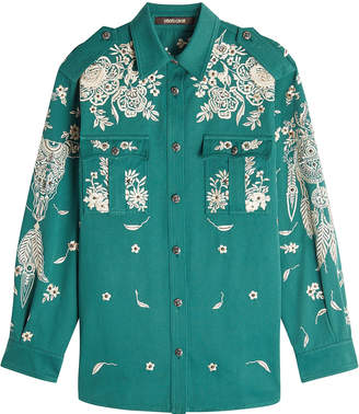Roberto Cavalli Embroidered and Embellished Cotton Shirt