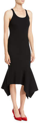 Michael Kors Scoop-Neck Sleeveless Merino Wool Tank Dress w/ Handkerchief Hem