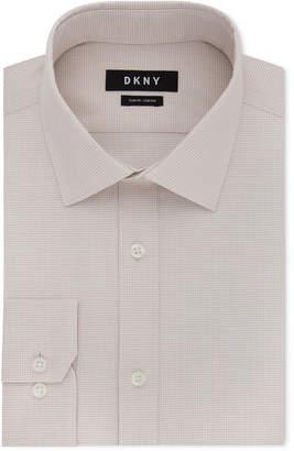 DKNY Men's Slim-Fit Stretch Mini Check Dress Shirt