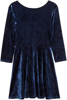 H&M Long-sleeved velour dress - Blue