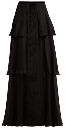 Zeus + Dione - Leonita Velvet Trimmed Silk Maxi Skirt - Womens - Black