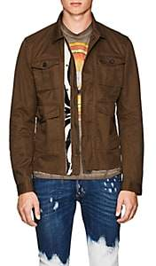 DSQUARED2 Men's Leather-Trimmed Cotton Twill Military Jacket-Olive Size 48 Eu