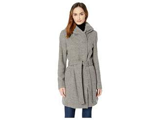 Calvin Klein Double Face Wool Coat with Oversized Hood and Belt Closure