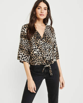 Abercrombie & Fitch Leopard Print Tie-Front Blouse
