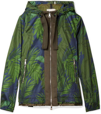 Moncler Hooded Grosgrain-trimmed Printed Shell Jacket - Green