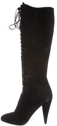 Prada Lace-Up Knee-High Boots