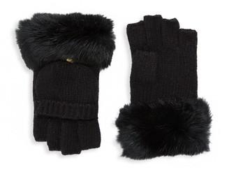 Adrienne Landau Dyed Rabbit Fur Trimmed Gloves