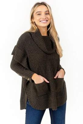 francesca's Carrie Button Sleeve Poncho - Olive