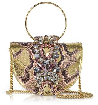 BRIGITTE Gedebe Mini Pink Gold Python Clutch W/crystals And Chain Strap