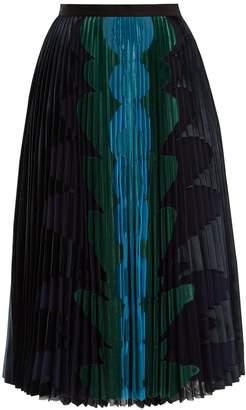 Mary Katrantzou Suzette graphic-appliqué pleated-tulle midi skirt