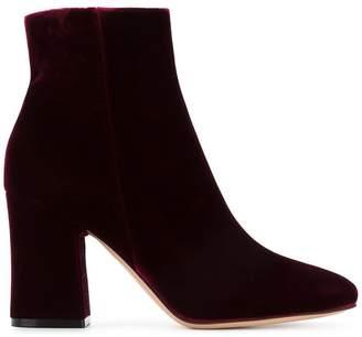 Gianvito Rossi Burgundy Velvet Rolling 90 ankle boots
