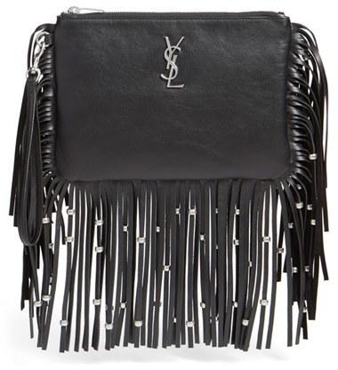Saint Laurent 'Monogram' Fringe Calfskin Wristlet - Black