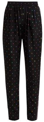 Stella McCartney Christine Print Silk Trousers - Womens - Navy Multi