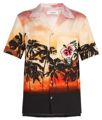 Valentino Embellished Sunset Print Cotton Shirt - Mens - Multi