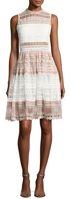 Alexis Sleeveless Fit & Flare Lace Dress, White/Pink $594 thestylecure.com