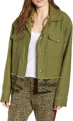 Pam & Gela Slouchy Army Jacket with Removable Faux Fur Lining