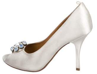 Lanvin Satin Peep-Toe Pumps